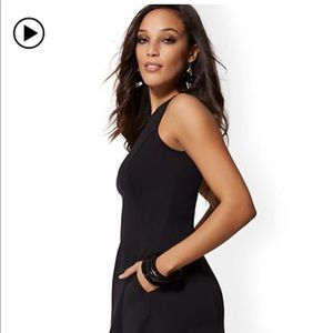 New York and Company black fit flare dress